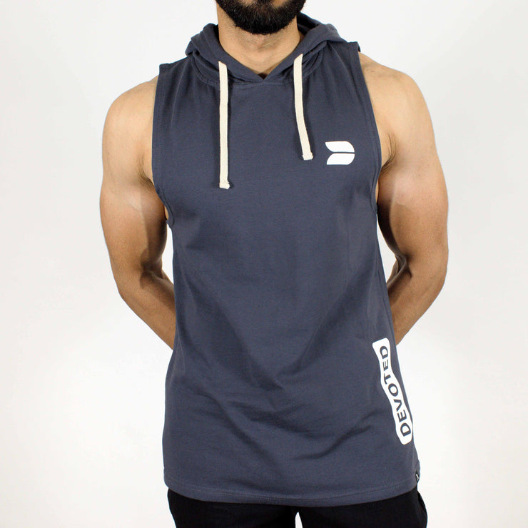 Devoted Allure Sleeveless Hoodie - Gym Wear & Sportswear - Stone | Stretch-Muscle Fit - Front