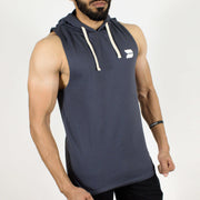 Devoted Allure Sleeveless Hoodie - Gym Wear & Sportswear - Stone | Stretch-Muscle Fit - Side
