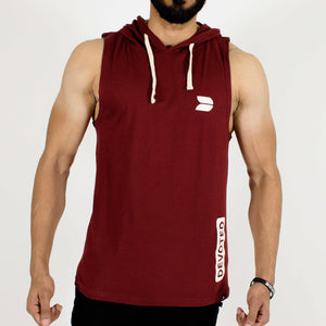 Devoted Allure Sleeveless Hoodie - Maroon - Gym Wear & Sportswear | Stretch-Muscle Fit - Front