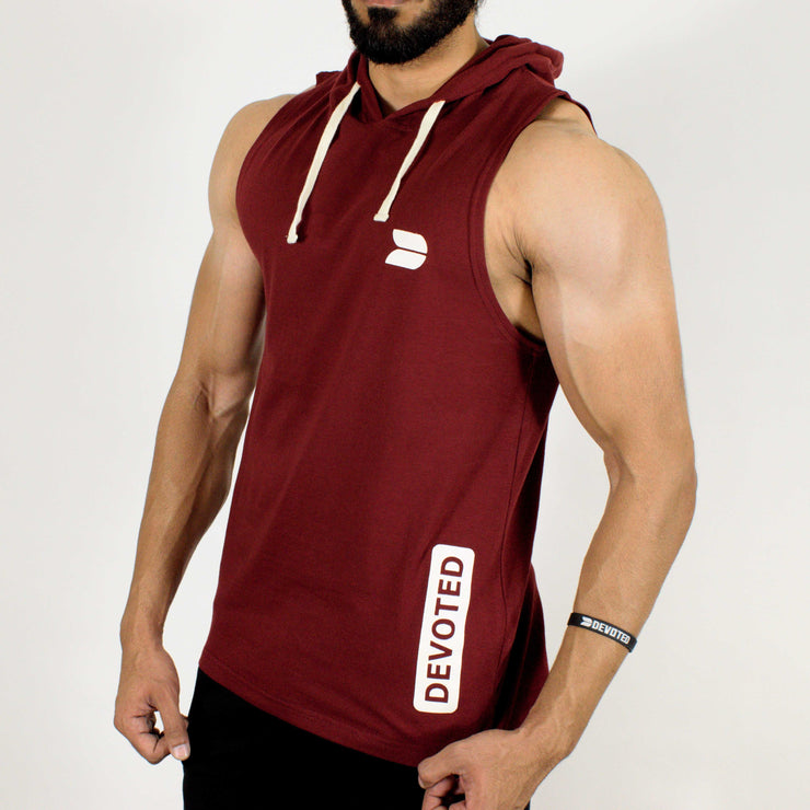 Devoted Allure Sleeveless Hoodie - Maroon - Gym Wear & Sportswear | Stretch-Muscle Fit - Side