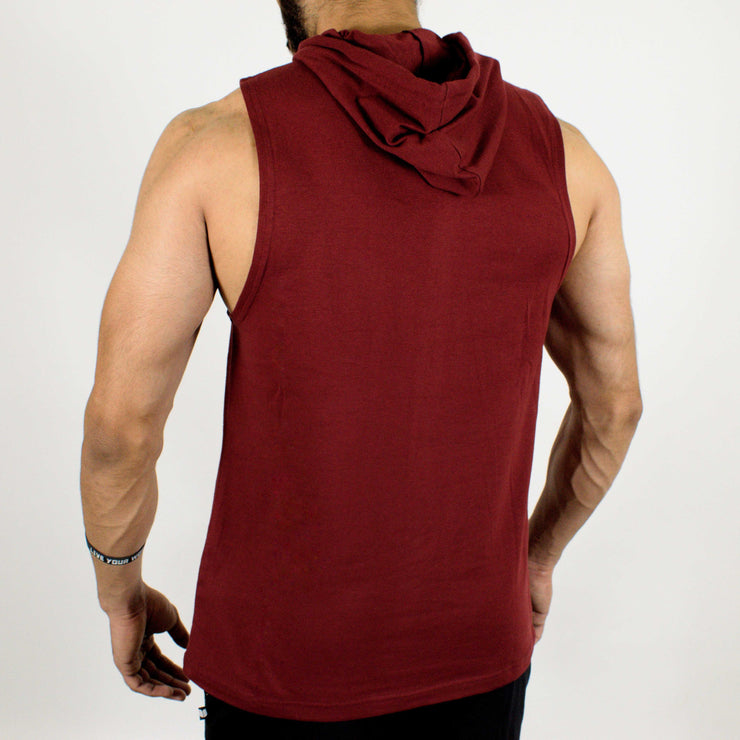Devoted Allure Sleeveless Hoodie - Maroon - Gym Wear & Sportswear | Stretch-Muscle Fit - Back