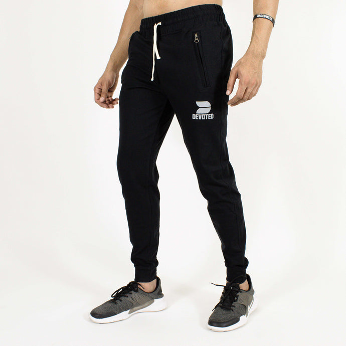 Devoted Allure Black Joggers - Gym Wear & Sports Wear | India | Super Flexible - Ultra Soft, Smooth & Amazing - Front