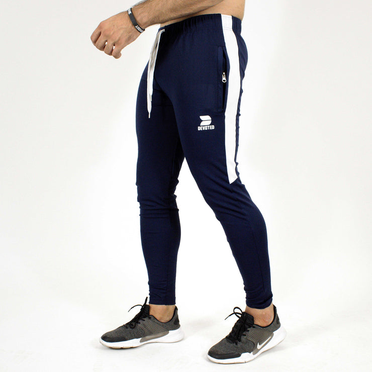 Devoted Dri-Stretch Joggers/Bottoms/Lower/Track pants - Gym Wear & Sports Wear | Super Flexible, Ultra Soft, Smooth, dry fit & Amazing - Navy Blue Side