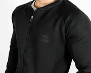 Devoted Lightweight Bomber Jacket Black - Muscle Fit Gym wear & sports clothing - Closeup