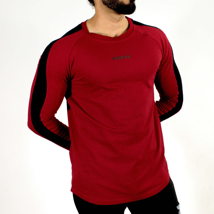Allure Full Sleeves T-shirt Wine Red - Gym Wear - Devoted Wear | Sports Wear - Front