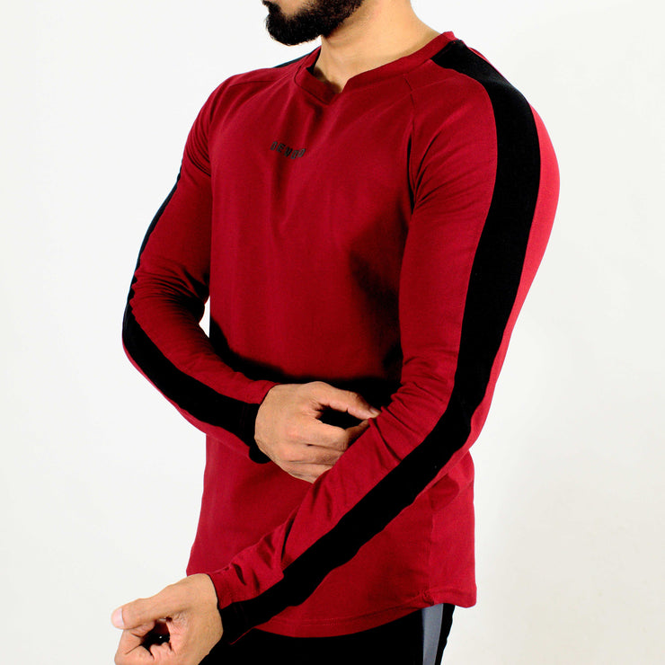 Allure Full Sleeves T-shirt Wine Red - Gym Wear - Devoted Wear | Sports Wear - Side
