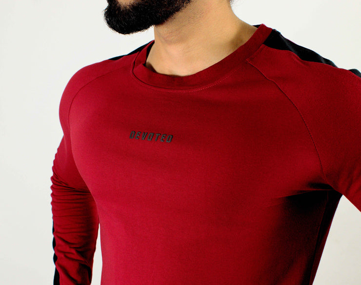 Allure Full Sleeves T-shirt Wine Red - Gym Wear - Devoted Wear | Sports Wear - Close up
