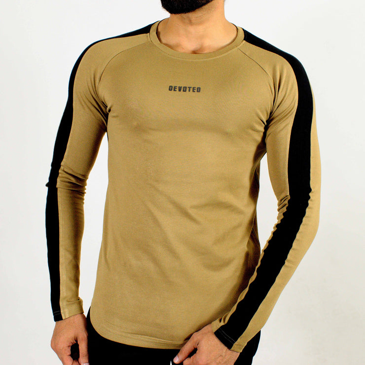 Allure Full Sleeves T-shirt Beige- Gym Wear - Devoted Wear | Sports Wear - Front
