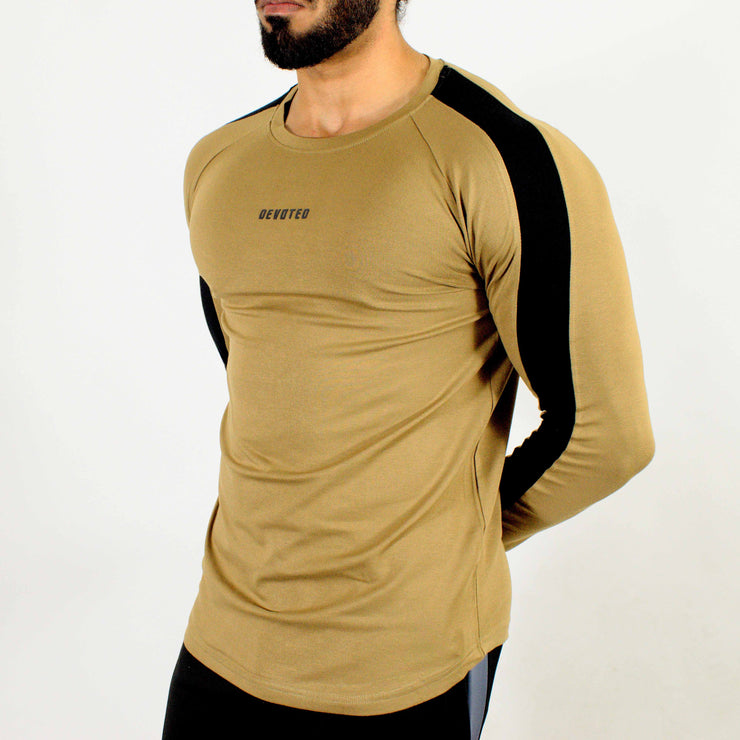 Allure Full Sleeves T-shirt Beige - Gym Wear - Devoted Wear | Sports Wear - Side