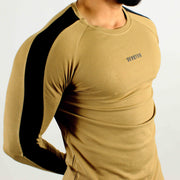 Allure Full Sleeves T-shirt Beige - Gym Wear - Devoted Wear | Sports Wear - Close up