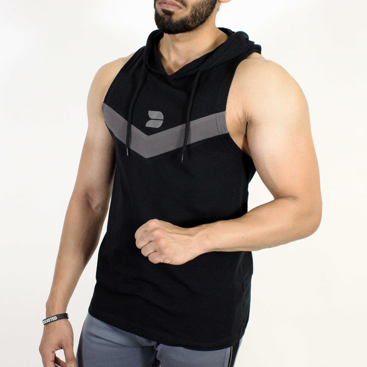 Devoted Allure Sleeveless Hoodie V2.0 - Gym wear & Sports clothing - Black Front