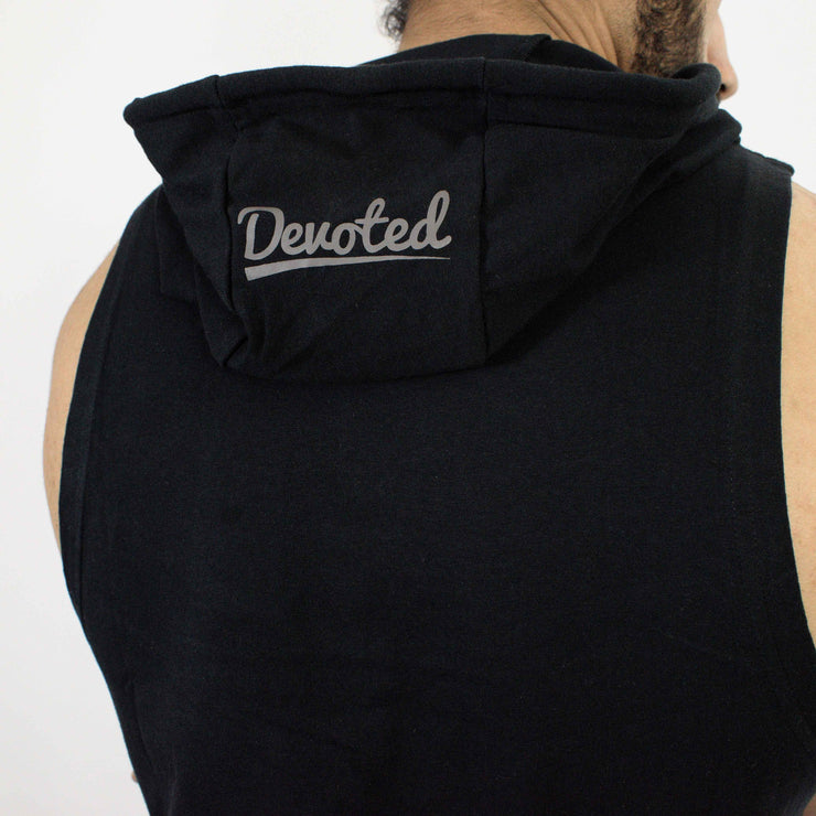 Devoted Allure Sleeveless Hoodie V2.0 - Gym wear & Sports clothing - Black Back Closeup