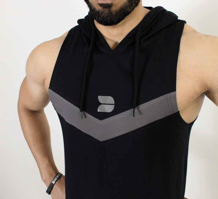 Devoted Allure Sleeveless Hoodie V2.0 - Gym wear & Sports clothing - Black Front Closeup