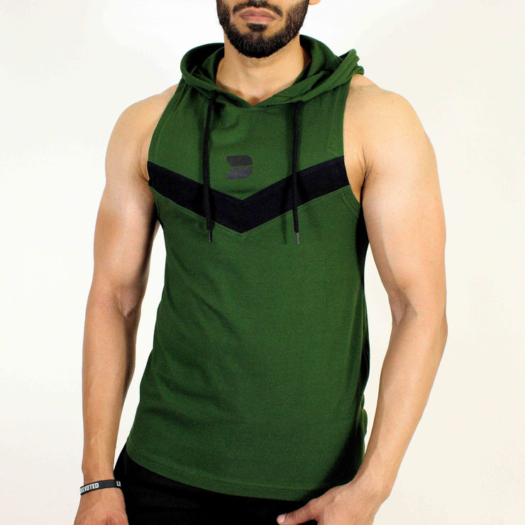 Devoted Allure Sleeveless Hoodie V2.0 - Gym wear & Sports clothing - Forest Green Front 2