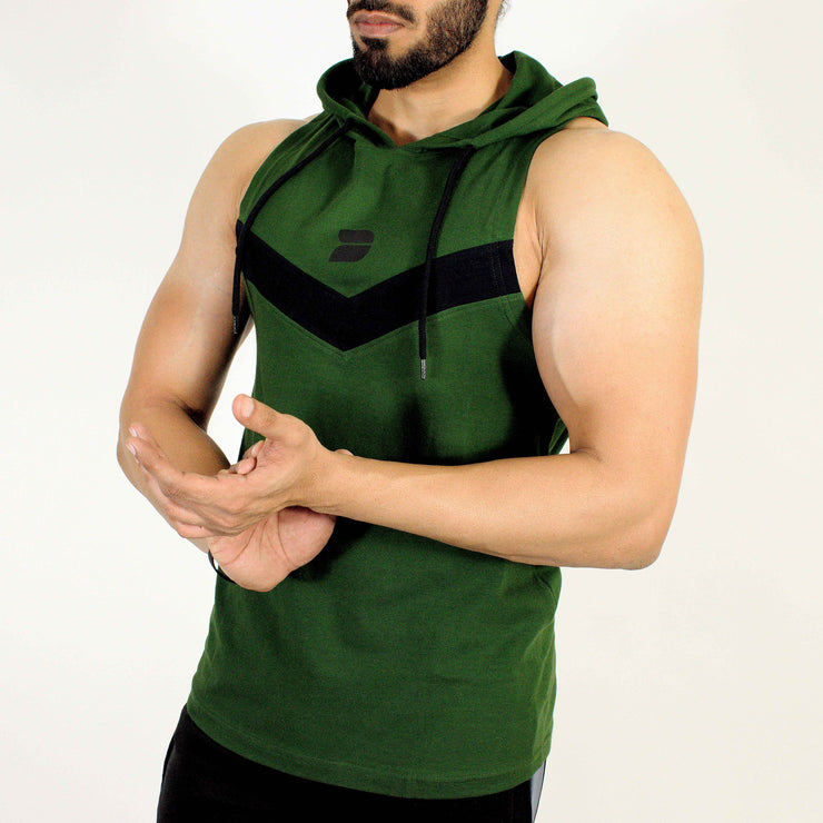 Devoted Allure Sleeveless Hoodie V2.0 - Gym wear & Sports clothing - Forest Green Front