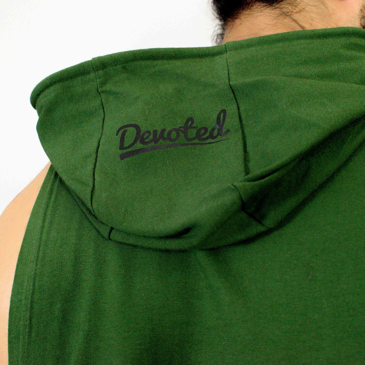 Devoted Allure Sleeveless Hoodie V2.0 - Gym wear & Sports clothing - Green Back Closeup