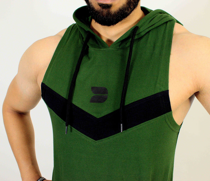 Devoted Allure Sleeveless Hoodie V2.0 - Gym wear & Sports clothing - Forest Green Front Closeup