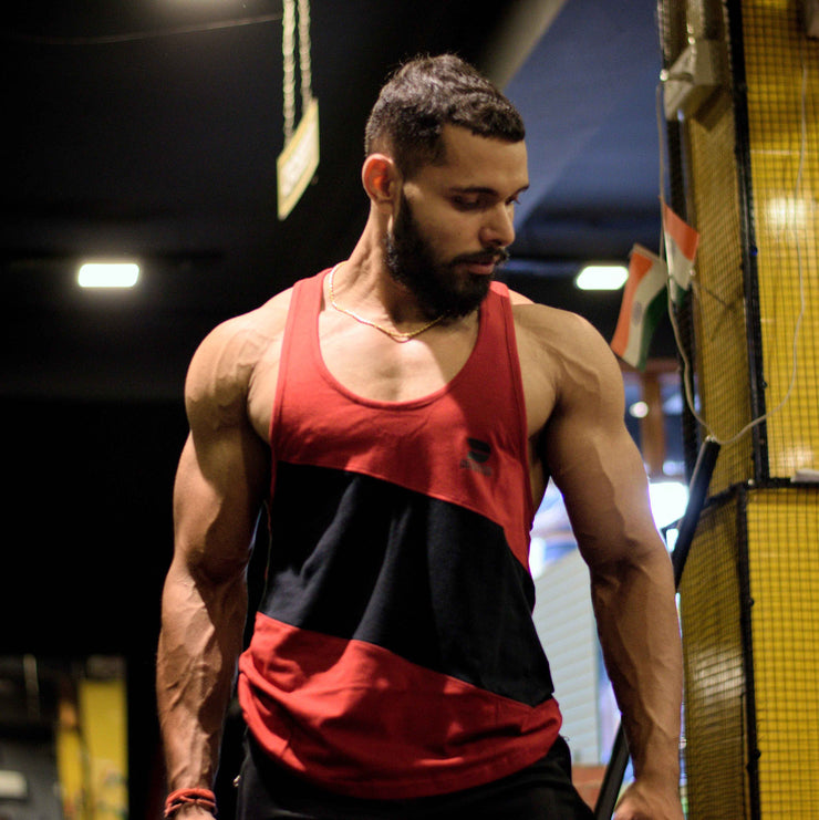Devoted x Ankit Choudhary (@a._choudhary) Allure Stringer V2.0 - Gym wear & Sports clothing - Maroon Gym Shoot