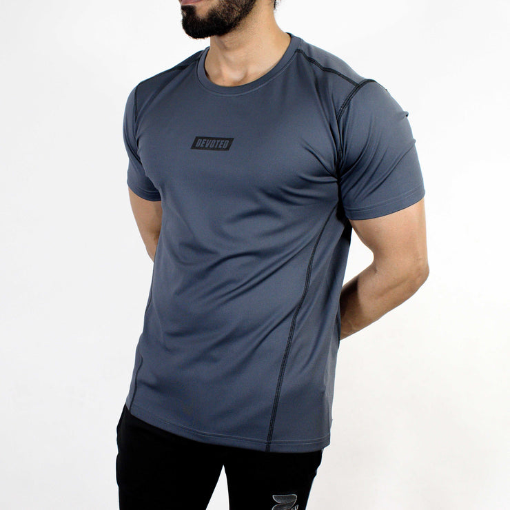 Devoted Dri-Stretch Pro Sports T-shirt - Gym wear & Sports clothing - Steel Grey Front