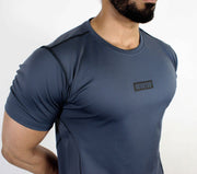 Devoted Dri-Stretch Pro Sports T-shirt - Gym wear & Sports clothing - Steel Grey Closeup
