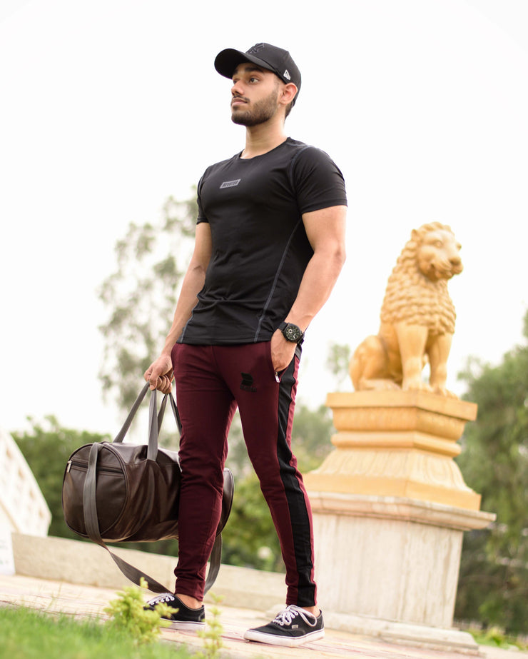 Devoted Allure Jogger V2.0 Wine & Dri-Stretch Pro Black Tee - Gym Clothing & Sportswear - Navjot SIngh (@NavjotSingh27) - Delhi Shoot - Stopa