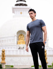 Devoted Dri-Stretch Grey T-shirt - Gym Clothing & Sportswear - Akshay Khanna (@Akay_Fitness))