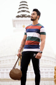 Devoted Allure Jogger Black-Grey V2.0 & Colorblock Tshirt Brown - Rohan Kapoor (@RohanKpr) - Delhi Stupa Shoot