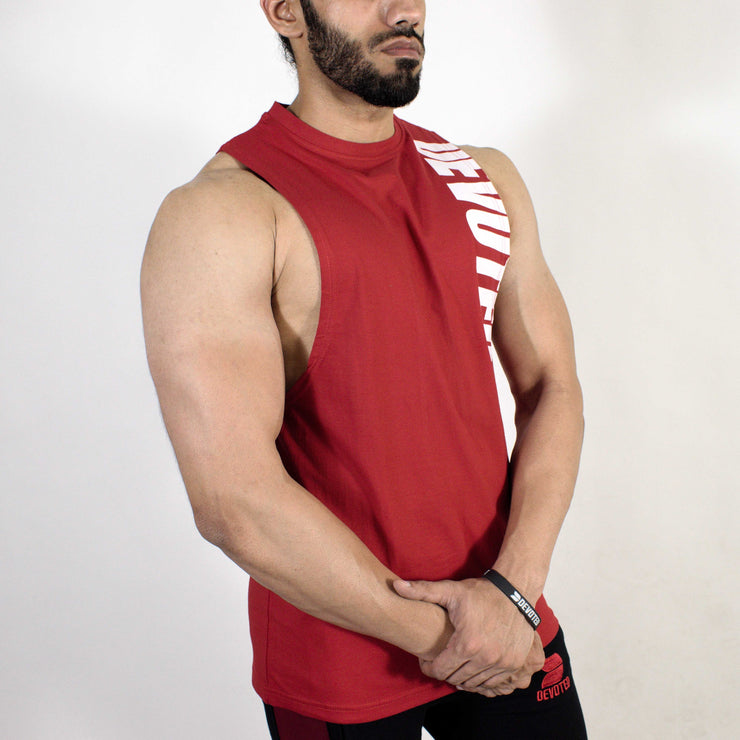 Devoted Allure Cut off - Gym wear & Sports clothing - Red Side