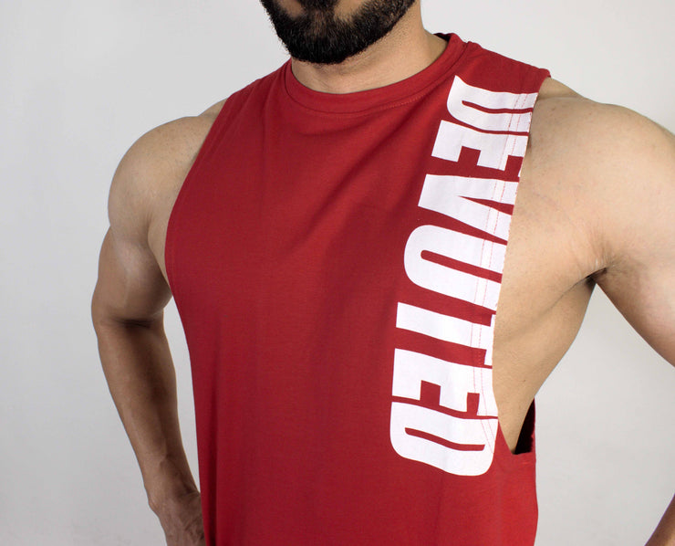 Devoted Allure Cut off - Gym wear & Sports clothing - Red Front Closeup