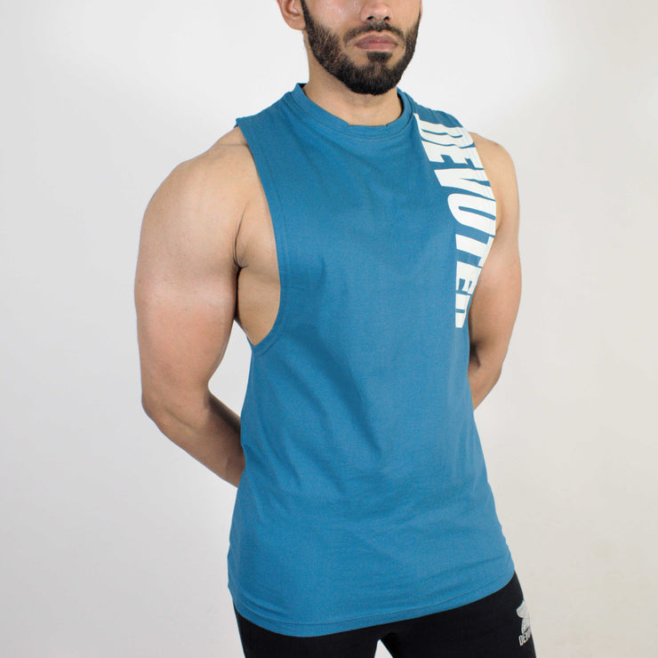 Devoted Allure Cut off - Gym wear & Sports clothing - Teal Blue Side