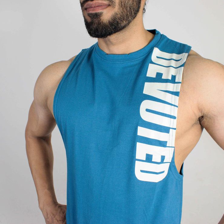 Devoted Allure Cut off - Gym wear & Sports clothing - Teal Blue Front Closeup
