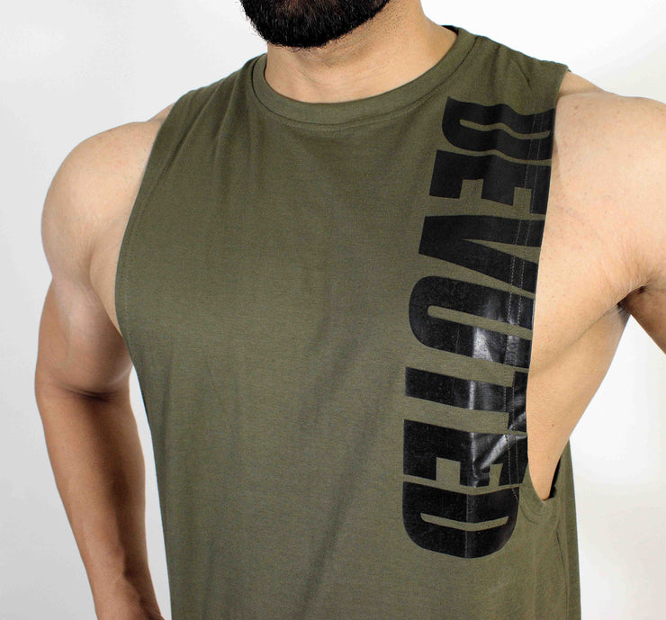 Devoted Allure Cut off - Gym wear & Sports clothing - Olive Green Front Closeup