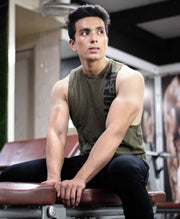 Allure Cut-offs - Devoted Gym wear & Sports clothing - Olive Green - Shaurya Bisht @ShauryaBisht