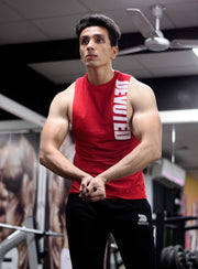 Allure Cut-offs - Devoted Gym wear & Sports clothing - Red - Shaurya Bisht @ShauryaBisht