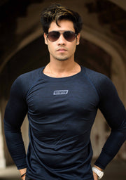 Dri-Stretch Pro Full Sleeves T-shirt - Dark Blue - Devoted Gym Wear & Sports Clothing - Nikhil Jain @Nikhil_Jain23