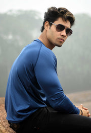 Dri-Stretch Pro Full Sleeves T-shirt - Reflective Blue - Devoted Gym Wear & Sports Clothing - Nikhil Jain @Nikhil_Jain23