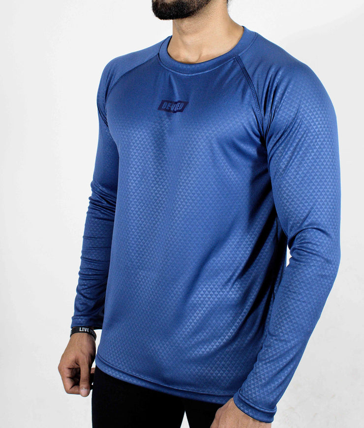 Dri-Stretch Pro Full Sleeves T-shirt - Reflective Blue - Devoted Gym Wear & Sports Clothing - Front