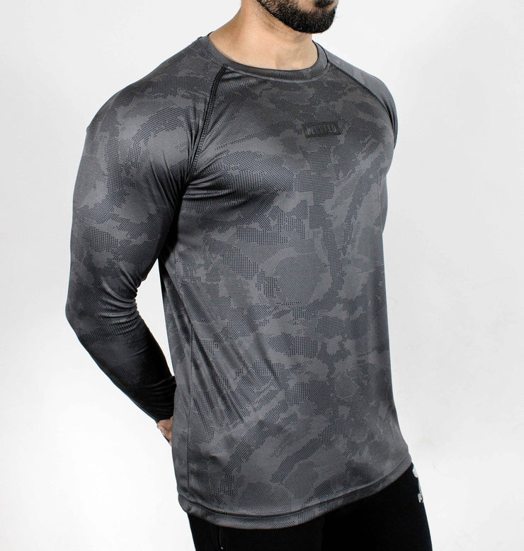 Dri-Stretch Pro Full Sleeves T-shirt - Grey Camouflage - Devoted Gym Wear & Sports Clothing - Side