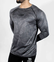 Dri-Stretch Pro Full Sleeves T-shirt - Grey Camouflage - Devoted Gym Wear & Sports Clothing - Front