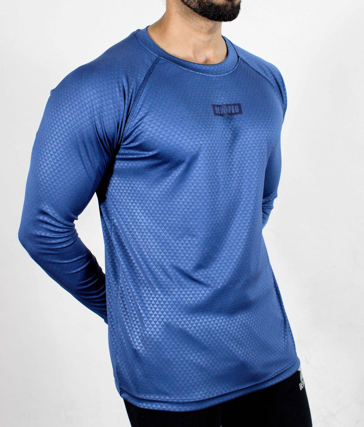 Dri-Stretch Pro Full Sleeves T-shirt - Reflective Blue - Devoted Gym Wear & Sports Clothing - Side