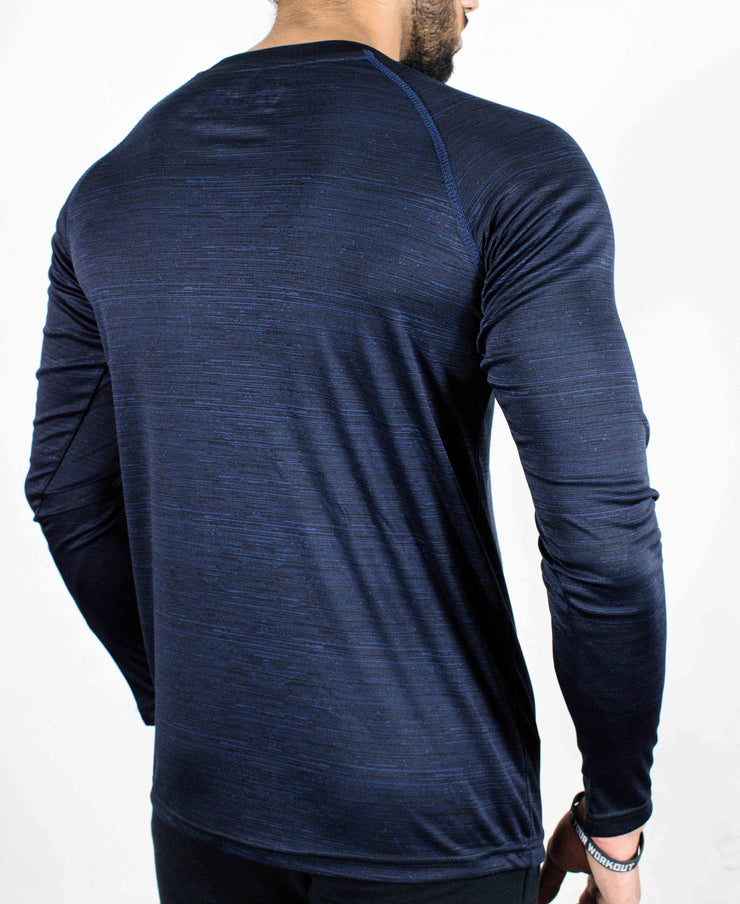 Dri-Stretch Pro Full Sleeves T-shirt - Dark Blue - Devoted Gym Wear & Sports Clothing - Back