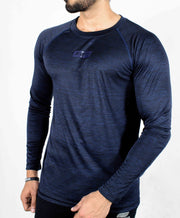 Dri-Stretch Pro Full Sleeves T-shirt - Dark Blue - Devoted Gym Wear & Sports Clothing - Front Side