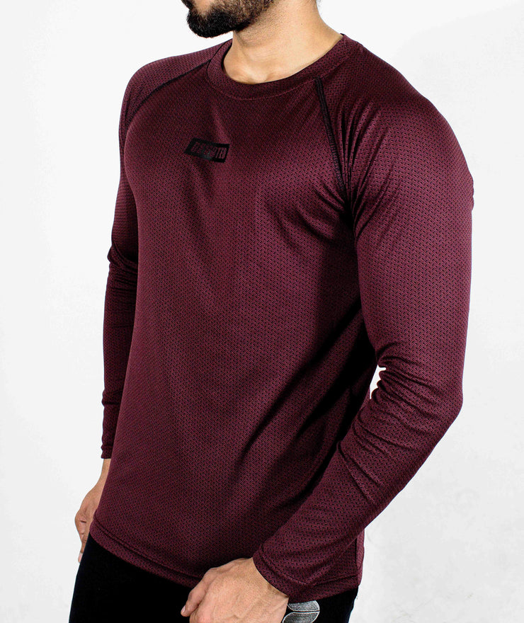 Dri-Stretch Pro Full Sleeves T-shirt - Maroon/Burgundy - Devoted Gym Wear & Sports Clothing - Side