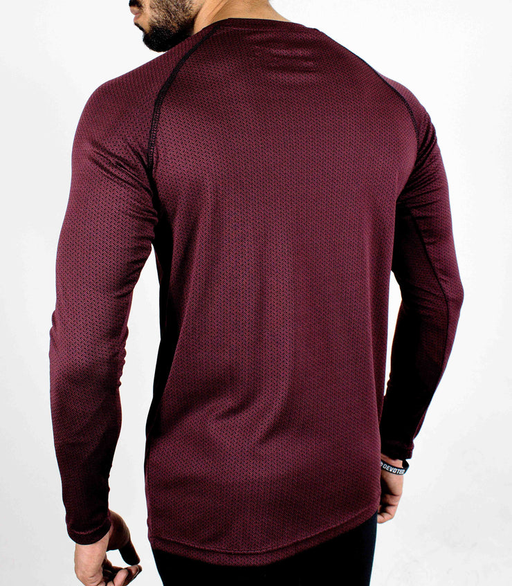 Dri-Stretch Pro Full Sleeves T-shirt - Maroon/Burgundy - Devoted Gym Wear & Sports Clothing - Back