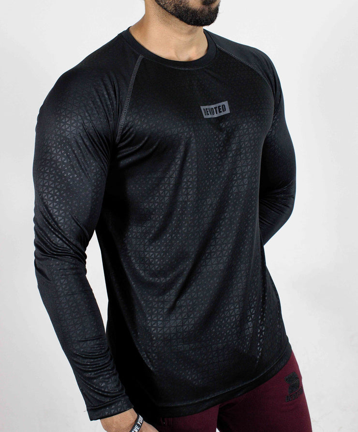 Dri-Stretch Pro Full Sleeves T-shirt - Black Reflective - Devoted Gym Wear & Sports Clothing - Side 2