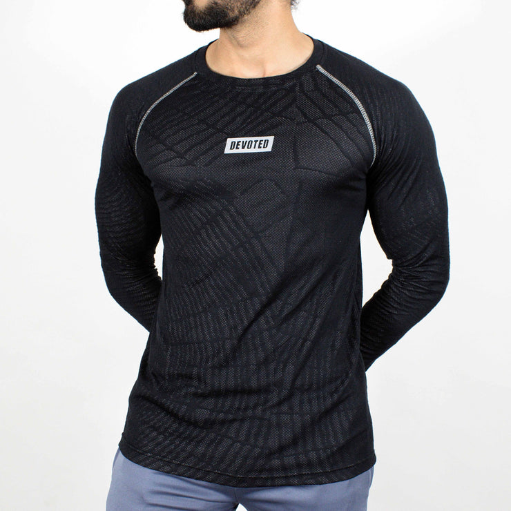 Dri-Stretch Pro Full Sleeves T-shirt - Black web - Devoted Gym Wear & Sports Clothing - Front