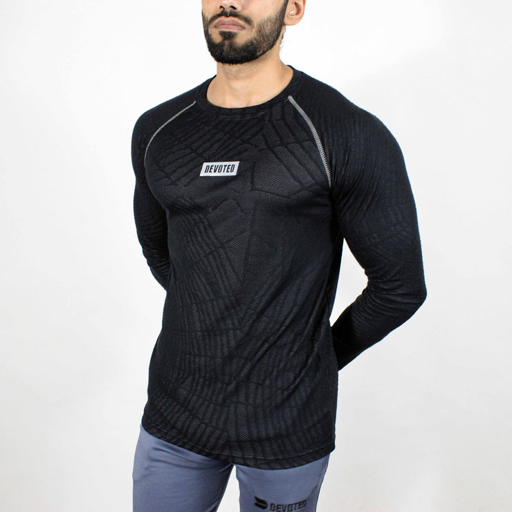 Dri-Stretch Pro Full Sleeves T-shirt - Black web - Devoted Gym Wear & Sports Clothing - Front Side