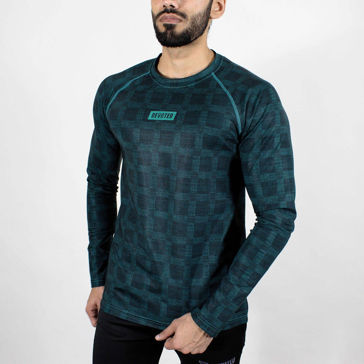 Dri-Stretch Pro Full Sleeves T-shirt - Teal - Devoted Gym Wear & Sports Clothing - Front