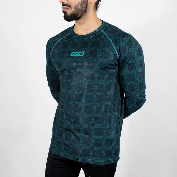 Dri-Stretch Pro Full Sleeves T-shirt - Teal - Devoted Gym Wear & Sports Clothing - Side
