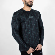 Dri-Stretch Pro Full Sleeves T-shirt - Black Green - Devoted Gym Wear & Sports Clothing - Front Side